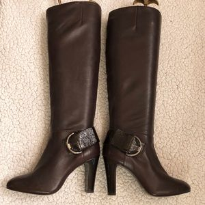 Gianni Bini brown leather tall boots size 6 M